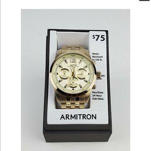NWT Armitron Men's Gold-Tone Bracelet Watch